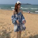 Dress Summer 2021 Blue tie dye S,M,L Short skirt singleton  Long sleeves Sweet One word collar High waist Decor Socket A-line skirt puff sleeve camisole 18-24 years old Type A 51% (inclusive) - 70% (inclusive) Chiffon polyester fiber Bohemia