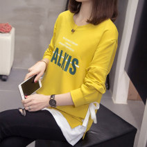 Women's large Autumn 2020 Green, yellow L [about 90-120 kg recommended], XL [about 120-140 kg recommended], 2XL [about 140-160 kg recommended], 3XL [about 160-180 kg recommended], 4XL [about 180-200 kg recommended] T-shirt Fake two pieces commute easy moderate Socket Long sleeves letter Crew neck bow