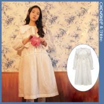 Dress Spring 2021 White shirt three dimensional twill dress Average size Short skirt singleton  Short sleeve Sweet Doll Collar High waist A-line skirt Others 18-24 years old Shiitake SS21BFDSDR More than 95% polyester fiber