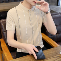 Polo shirt Jiusailang Youth fashion routine M L XL 2XL 3XL Self cultivation Other leisure summer Short sleeve tide routine teenagers Cotton 95% polyurethane elastic fiber (spandex) 5% Geometric pattern other No iron treatment printing Spring 2021 Pure e-commerce (online only)
