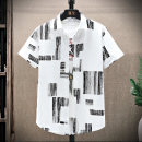 shirt Youth fashion Jiusailang M L XL 2XL 3XL Blue white black routine Pointed collar (regular) Long sleeves easy Other leisure summer teenagers Cotton 100% tide 2021 stripe Color woven fabric Spring 2021 No iron treatment Decorative loop