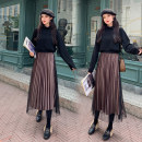 skirt Autumn of 2019 S M L XL XXL Mid length dress commute High waist Pleated skirt Solid color Type A 18-24 years old 91% (inclusive) - 95% (inclusive) other Cheng Xiao polyester fiber Pleated gauze Korean version Polyester fiber 94% polyurethane elastic fiber (spandex) 6%