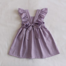 Dress Purple check female Other / other 73cm,80cm,90cm,100cm,110cm,120cm Other 100% summer Korean version Skirt / vest lattice other Lotus leaf edge X254 12 months, 6 months, 9 months, 18 months, 2 years old, 3 years old, 4 years old, 5 years old