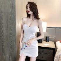Dress Summer 2020 M,XL,L,S Miniskirt singleton  commute High waist zipper Breast wrapping 18-24 years old Korean version other nylon