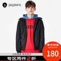 Jacket gxg.jeans Youth fashion black 165/S,170/M,175/L,180/XL,185/XXL routine Self cultivation Other leisure spring Polyamide fiber (nylon) 100% Long sleeves Hood tide youth routine Zipper placket 2018 Closing sleeve Solid color
