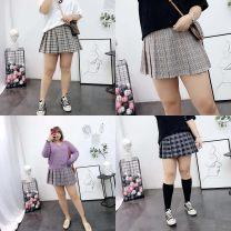 skirt Summer 2020 2XL,3XL,4XL,5XL,6XL Orange lattice, dark blue lattice Short skirt commute Natural waist Pleated skirt lattice Type A 30% and below other polyester fiber Korean version