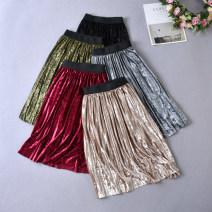 skirt 90cm,100cm,110cm,120cm,130cm,140cm,150cm Gauze red skirt, black skirt, dark green skirt, silver skirt and champagne skirt Other / other female Other 100% skirt