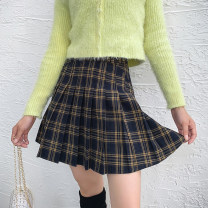 skirt Winter of 2019 XS,S,M,L,XL Short skirt street High waist Pleated skirt lattice Type A 18-24 years old 91% (inclusive) - 95% (inclusive) other cotton Button 351g / m ^ 2 (including) - 400g / m ^ 2 (including) Europe and America