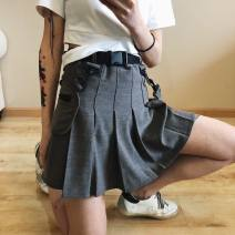 skirt Summer of 2019 XS,S,M,L Gray, black Short skirt street High waist Pleated skirt Solid color Type A 18-24 years old 81% (inclusive) - 90% (inclusive) other cotton zipper Europe and America