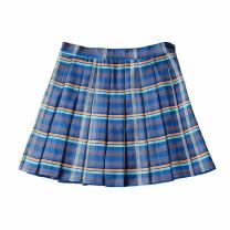 skirt Autumn 2020 XS,S,M,L blue Short skirt street High waist Pleated skirt lattice Type A 18-24 years old XX - C31 new plaid skirt 81% (inclusive) - 90% (inclusive) other Button, zipper Europe and America