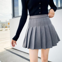 skirt Winter of 2019 XS,S,M,L,XL Black, gray Short skirt street High waist Pleated skirt Solid color Type A 18-24 years old 81% (inclusive) - 90% (inclusive) other other Splicing Europe and America