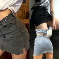 skirt Summer 2020 XS,S,M,L Black, gray, light blue Short skirt street High waist skirt Solid color Type A 18-24 years old 1067 peach hip front split denim skirt 31% (inclusive) - 50% (inclusive) other other Europe and America