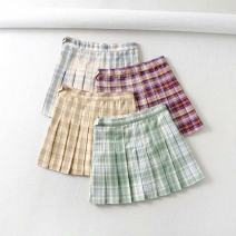 skirt Summer 2020 XS,S,M,L Short skirt street High waist Pleated skirt lattice Type A 18-24 years old 71% (inclusive) - 80% (inclusive) other polyester fiber Color block pattern Europe and America