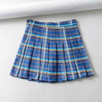 skirt Autumn of 2019 XS,S,M,L blue Short skirt street High waist A-line skirt lattice Type A 18-24 years old 91% (inclusive) - 95% (inclusive) other other Button Europe and America