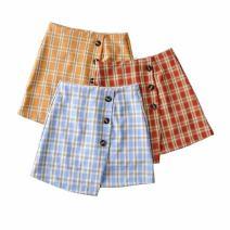 skirt Summer 2020 XS,S,M,L Blue grid, orange grid, red grid Short skirt Versatile High waist A-line skirt lattice Type A 18-24 years old Star xx-c04 71% (inclusive) - 80% (inclusive) other polyester fiber Three dimensional decoration, asymmetric