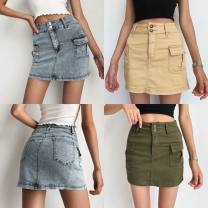skirt Summer 2020 25,26,27,28,29 Army green, khaki, light blue Short skirt street High waist Denim skirt Solid color Type A 18-24 years old Nz075 # side pocket denim skirt 91% (inclusive) - 95% (inclusive) Denim other Button Europe and America