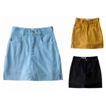 skirt Autumn 2020 S,M,L Black, maiden blue, high earth yellow Short skirt Versatile High waist A-line skirt Solid color Type A 25-29 years old Daily yt04 71% (inclusive) - 80% (inclusive) corduroy cotton pocket