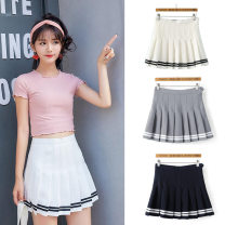 skirt Summer of 2018 XS,S,M,L,XL White, yellow, light gray, black, Navy, sky blue, skin pink, water tender powder Short skirt street High waist Pleated skirt Solid color Type A 18-24 years old 81% (inclusive) - 90% (inclusive) other Other / other other Panel, button, zipper Europe and America