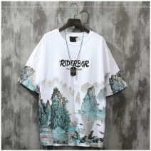 T-shirt Youth fashion White, blue, pink routine S,M,L,XL Trigg  Short sleeve Crew neck easy daily summer om2052 Cotton 100% youth routine Chinese style other printing Chinese culture