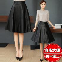 skirt Autumn 2020 S,M,L,XL,2XL,3XL black Mid length dress commute High waist A-line skirt Solid color Type A 903# Sheepskin Other / other Sheepskin Zipper, pocket Korean version