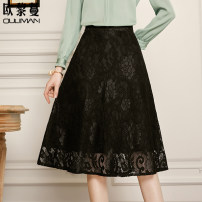 skirt Spring 2021 160/64A/S 165/68A/M 170/72A/L 175/76A/XL 180/80A/2XL Black Lace  Mid length dress commute High waist A-line skirt Solid color 30-34 years old 31% (inclusive) - 50% (inclusive) Lace Euriman cotton Lace Ol style Pure e-commerce (online only)