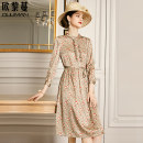 Dress Spring 2021 Small flower with grey background 160/84A/S 165/88A/M 170/92A/L 175/96A/XL 180/100A/2XL longuette singleton  Nine point sleeve commute stand collar middle-waisted Broken flowers Single breasted A-line skirt routine 30-34 years old Euriman Ol style printing Chiffon silk