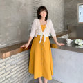 Women's large Summer 2021 Cardigan / Collection Plus purchase priority, yellow suspender skirt / Collection Plus purchase priority, black suspender skirt / Collection Plus purchase priority, yellow suit / Collection Plus purchase priority, black suit / Collection Plus purchase priority Two piece set
