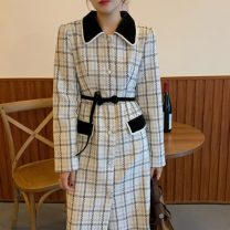 woolen coat Winter 2020 Average size Check pattern other 31% (inclusive) - 50% (inclusive) Medium length Long sleeves commute routine Polo collar Straight cylinder Retro 25-29 years old Imitation fabric