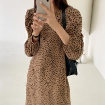 Dress Autumn 2020 Black, khaki Average size longuette singleton  Long sleeves commute Crew neck Loose waist Leopard Print puff sleeve 18-24 years old Retro 31% (inclusive) - 50% (inclusive) polyester fiber