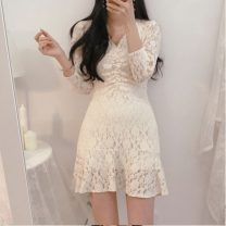 Dress Winter of 2019 White, black S,M,L,XL Short skirt singleton  Long sleeves Sweet V-neck High waist Solid color zipper routine 18-24 years old Other / other 31% (inclusive) - 50% (inclusive) polyester fiber