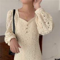 Dress Spring 2021 white Average size Mid length dress singleton  Long sleeves commute square neck High waist zipper A-line skirt bishop sleeve 18-24 years old Korean version 31% (inclusive) - 50% (inclusive) Lace