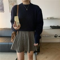 Fashion suit Spring 2021 Average size Dark blue sweater, half skirt s, half Skirt M 18-25 years old 71% (inclusive) - 80% (inclusive) polyester fiber