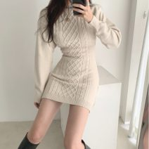 Dress Winter of 2019 Apricot, black Average size Short skirt singleton  Long sleeves commute Crew neck High waist Socket routine 18-24 years old Other / other Retro 31% (inclusive) - 50% (inclusive) acrylic fibres