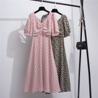 Dress Summer 2021 Red, black S,M,L,XL Mid length dress singleton  Short sleeve commute V-neck High waist Broken flowers Single breasted Big swing routine Others 18-24 years old Type A lady 71% (inclusive) - 80% (inclusive) Chiffon polyester fiber