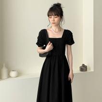 Dress Summer 2021 black L,M,S,XL Mid length dress singleton  Short sleeve commute square neck High waist Solid color Socket Big swing Others Type A Retro