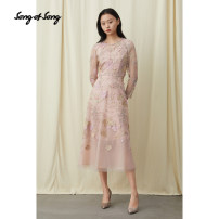 Dress Summer 2020 Pink Please consult customer service for changing clothes, don't take M / 38 L / 40 XL / 42 XXL / 44 Mid length dress singleton  Long sleeves commute Crew neck High waist Big flower zipper routine 35-39 years old Song of song lady Embroidered nail beads 5C30105091 More than 95%
