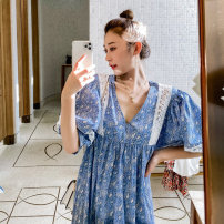 Dress Summer 2020 blue S M Mid length dress singleton  elbow sleeve commute V-neck Loose waist Broken flowers Socket Big swing puff sleeve Others 18-24 years old Type H BLUESTREAK Ⅱ Retro Cut out and patched lace printing More than 95% cotton Cotton 100%