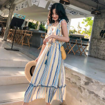 Dress Winter of 2019 stripe S M L Mid length dress singleton  Sleeveless Sweet V-neck Elastic waist stripe Socket A-line skirt Flying sleeve Others 18-24 years old Type A BLUESTREAK Ⅱ Ruffle fringe pleated auricular lace button More than 95% other Other 100% Bohemia