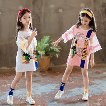 T-shirt White, pink Other / other 110cm,120cm,130cm,140cm,150cm,160cm female summer Short sleeve Crew neck leisure time There are models in the real shooting nothing cotton Cartoon animation Cotton 95% polyester 5% Flared sleeve parent child dress Class B ultraviolet-proof Chinese Mainland