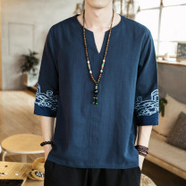 T-shirt Youth fashion routine M,L,XL,2XL,3XL,4XL,5XL Others elbow sleeve V-neck easy Other leisure summer Large size routine Chinese style 2021 Ethnic style Embroidery Cotton and hemp Retro nationality Non brand