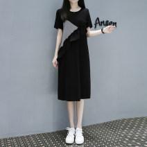 Shirt / Chiffon Short sleeve Other / other black S. M, l, XL, XXL, XXL, plus XXL Crew neck Korean version summer Pure cotton (95% and above)