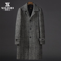 woolen coat Black ash 46 48 50 52 Celis Youth fashion Polyester 60% wool 40% Woolen cloth Autumn of 2018 Medium length Other leisure Self cultivation Pure e-commerce (online only) youth Lapel Single breasted Youthful vigor lattice Straight hem Side seam pocket wool No iron treatment Color matching