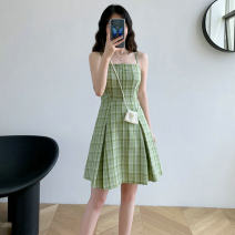 Dress Summer 2021 Picture color M. L, XL, XXL Middle-skirt singleton  commute middle-waisted other Socket Pleated skirt Others 18-24 years old Retro Splicing 81% (inclusive) - 90% (inclusive) other