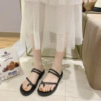 slipper 35 36 37 38 39 Mo Yun Black apricot Flat bottom Low heel (1-3cm) PU Summer 2021 rubber daily Korean version Adhesive shoes Youth (18-40 years old) Solid color Roman style zg002621 PU PU Pure e-commerce (online only)