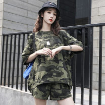 Fashion suit Summer 2021 S M L XL XXL Camouflage green two piece set camouflage apricot two piece set 18-25 years old Highlight Charm L306 71% (inclusive) - 80% (inclusive) cotton Cotton 75% viscose fiber (viscose fiber) 19% polyurethane elastic fiber (spandex) 6%