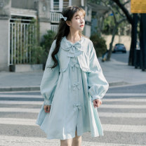 Windbreaker Spring 2021 S,M,L Menthol Long sleeves routine Medium length street Single breasted puff sleeve Solid color Skirt type 18-24 years old