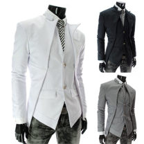 Jacket AOWOFS Fashion City Black, white, grey XL,L,M,XXL routine Self cultivation Other leisure autumn x309 Long sleeves Wear out stand collar Exquisite Korean style youth routine Single breasted 2018 Slant hem No iron treatment Loose cuff Solid color cotton Asymmetry Digging bags with lids cotton