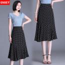 skirt Summer 2021 L(85 - 110 kg) XL Yf6602 white dot on black background longuette commute High waist A-line skirt Dot Type A ON - YF6602 Chiffon Onoev zipper