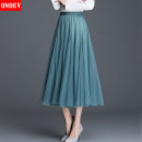 skirt Spring 2021 Average size (85-140 kg) Mid length dress Versatile High waist Solid color Type A Onoev