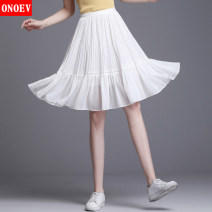 skirt Summer 2020 Short skirt Versatile High waist A-line skirt Solid color Type A Onoev